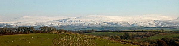 600 Snow capped Dartmoor from Midsummer Cottage Garden www.midsummercottage.co.uk